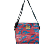 Green Recycled plastic bags blue and red embrace 2 back pack