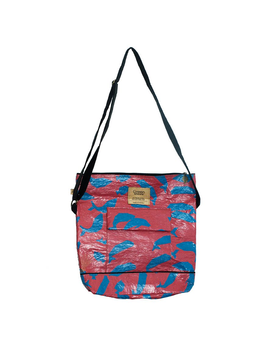 Green Red And Blue Bag Two Pockets Recycled Plastic